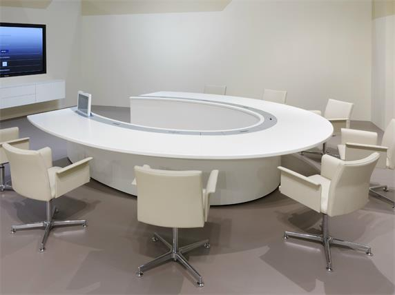 Round Custom Conference White Circle Meeting Table