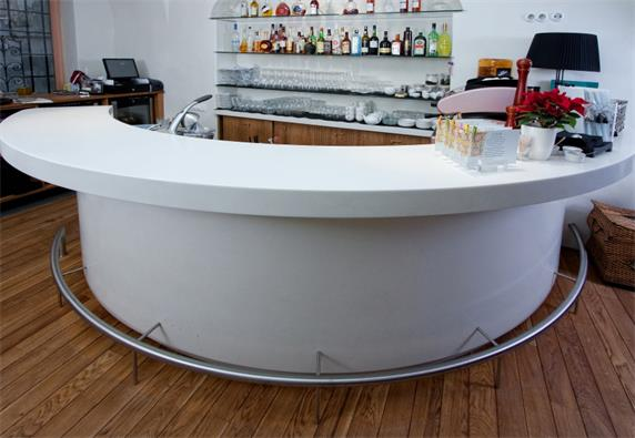 Half Circle Home Use Small White Stone Bar Counter