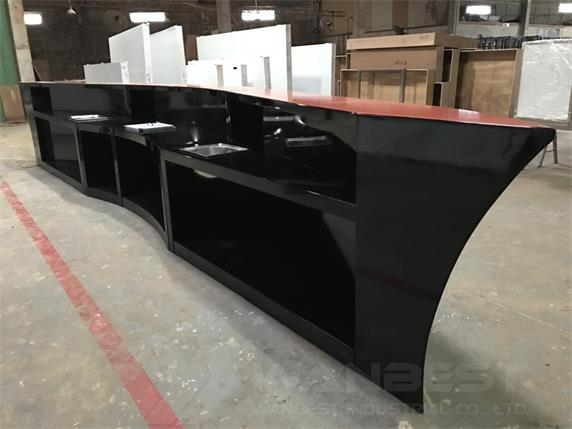 Black Lacquer Wood Boat shape wedding rental movable bar counter