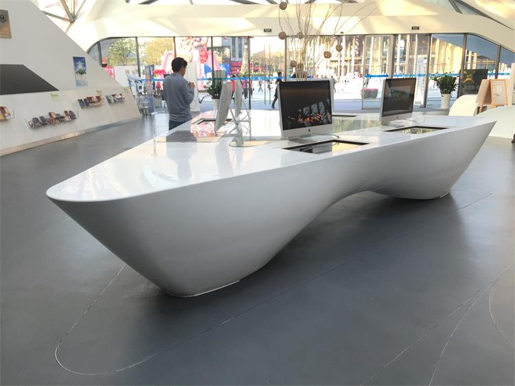 commercial white marble computer display counter