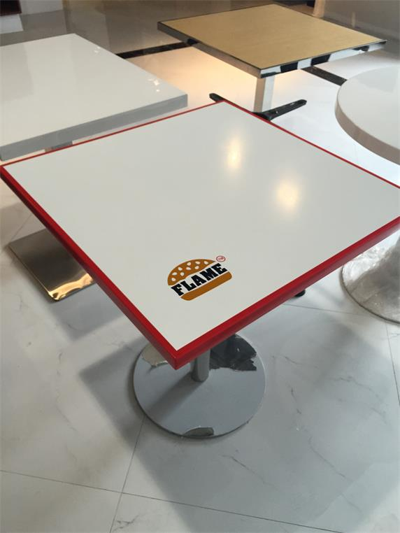 white corian artificial marble restaurant dinging table logo print
