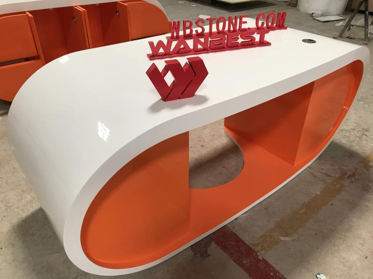 orange manager desk curved shape