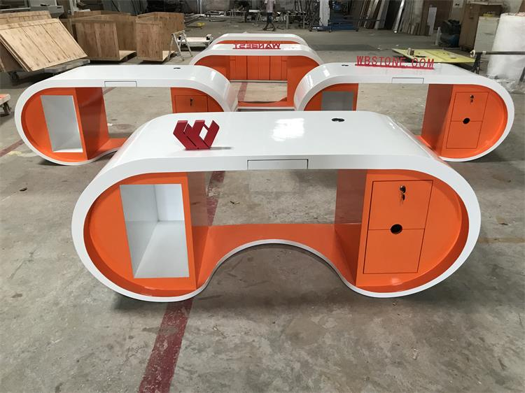 orange manager desk front view