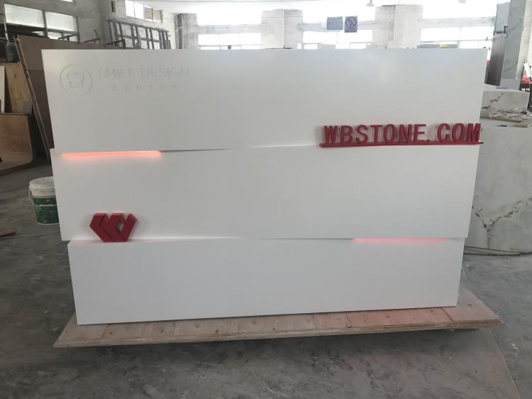 White Corian marble company reception salon cash counter shopping mall kiosk  (5)