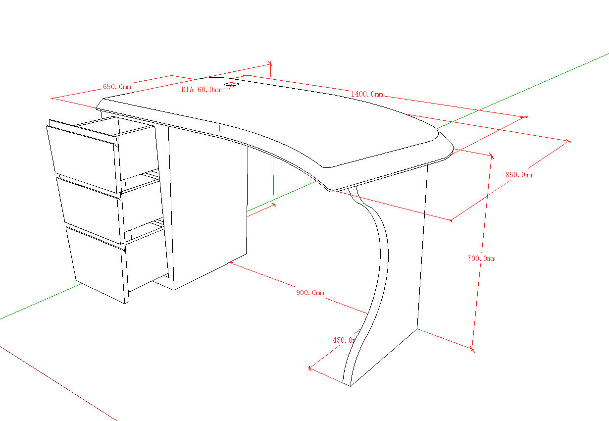 More size 3D drawing of office desk