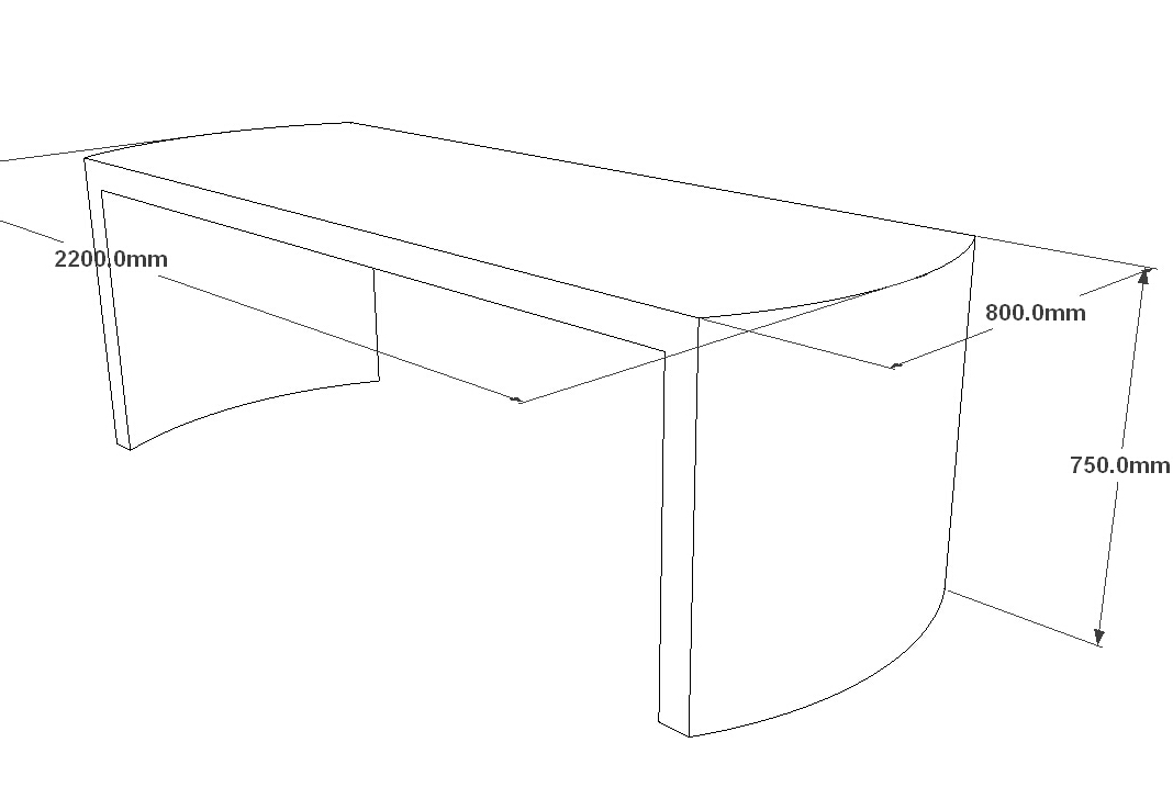 3D drawing white simple corian office desks