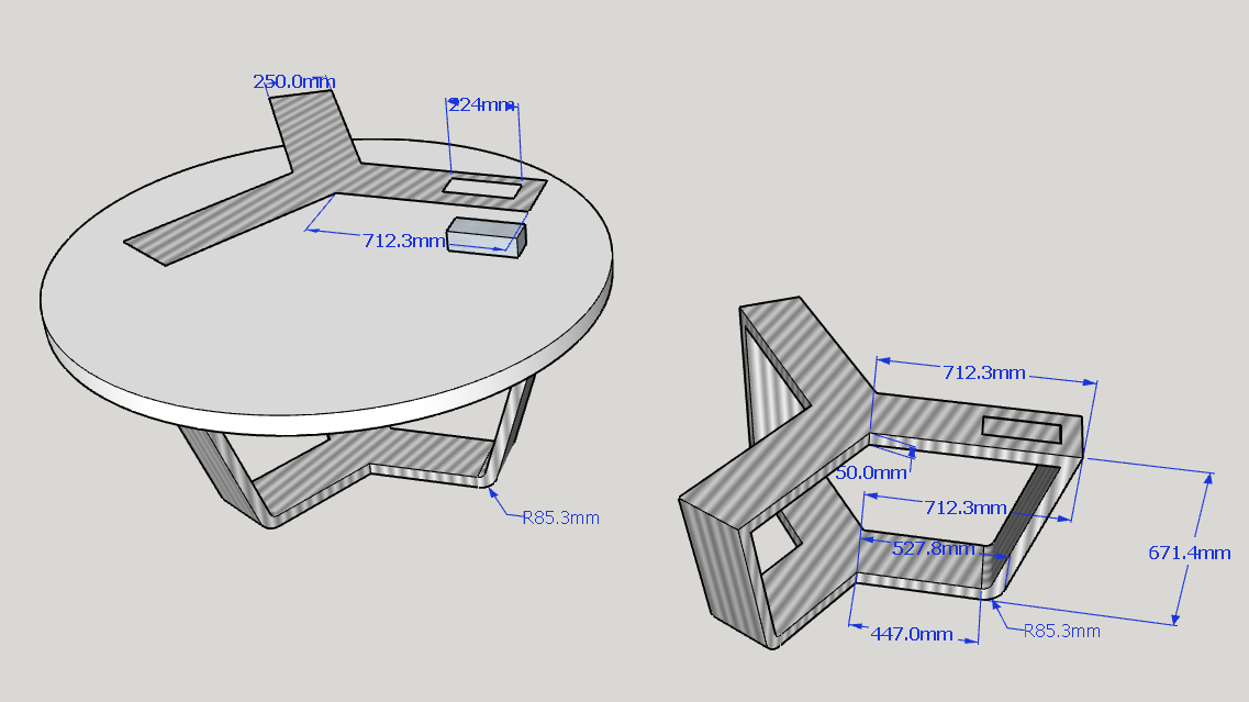 the 3D drawing of conference table