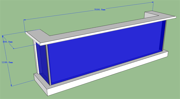 The front counter 3D drawing