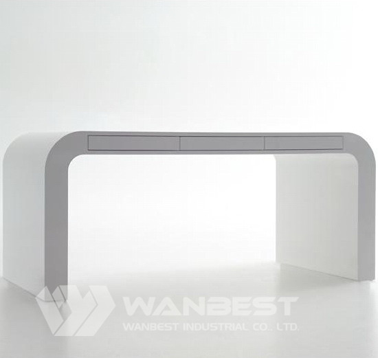 curved acrylic solid surface simple office desk design factory