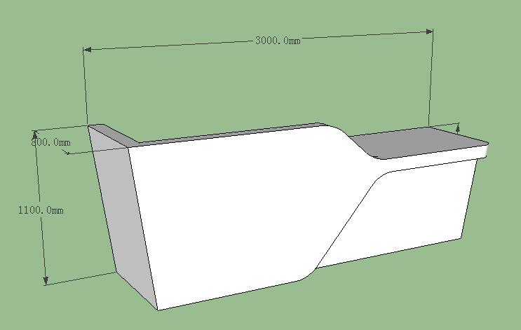 3D drawing of white corian reception counter