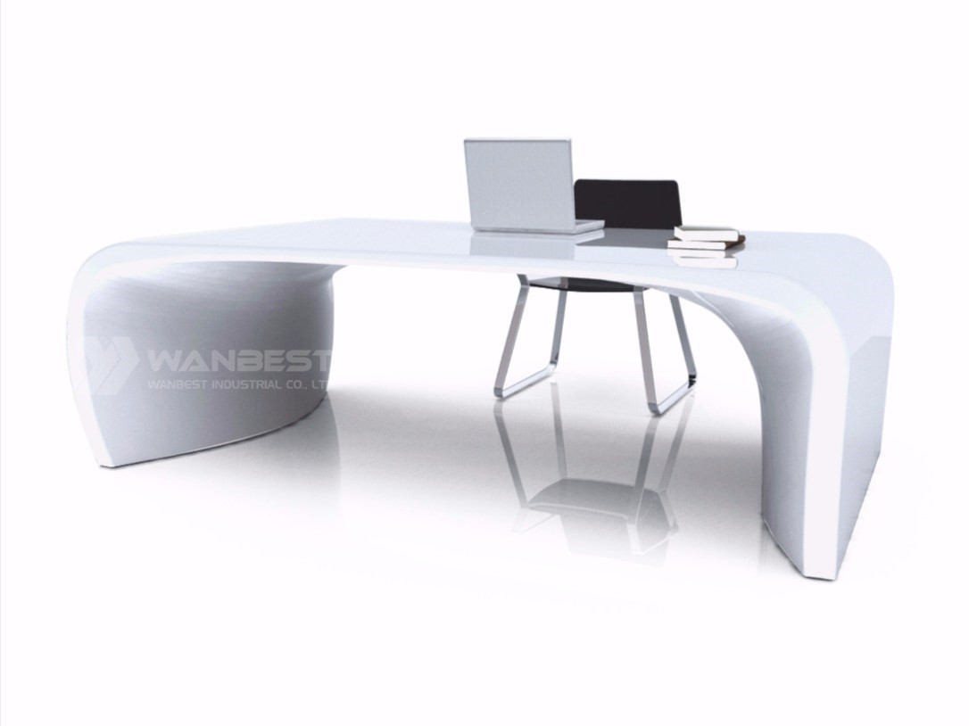 solid surface office executive desk-all white