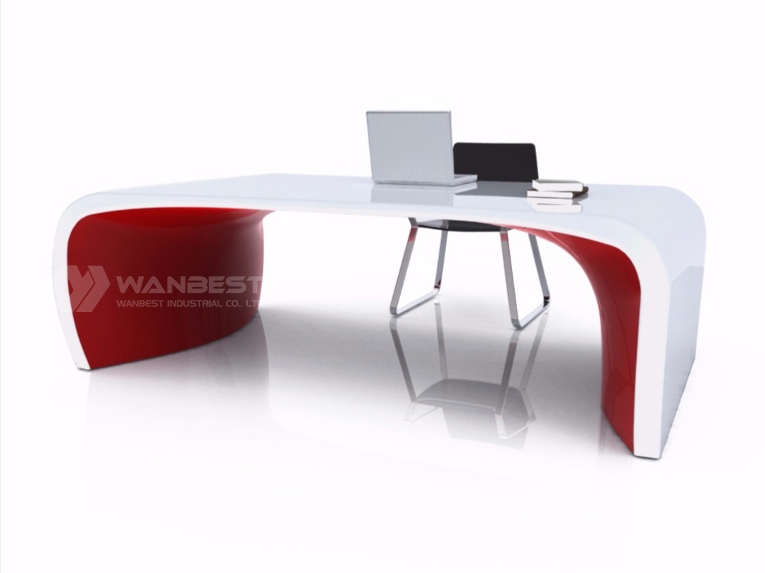 solid surface office executive desk-white