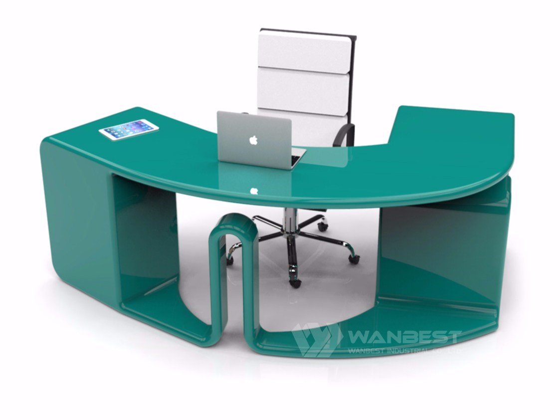 Small round office desk white color simple design hot selling