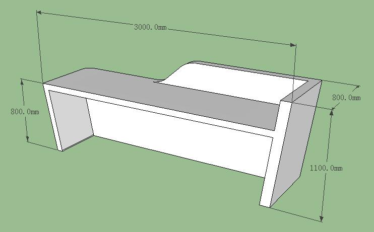 3D drawing of white corian reception desk
