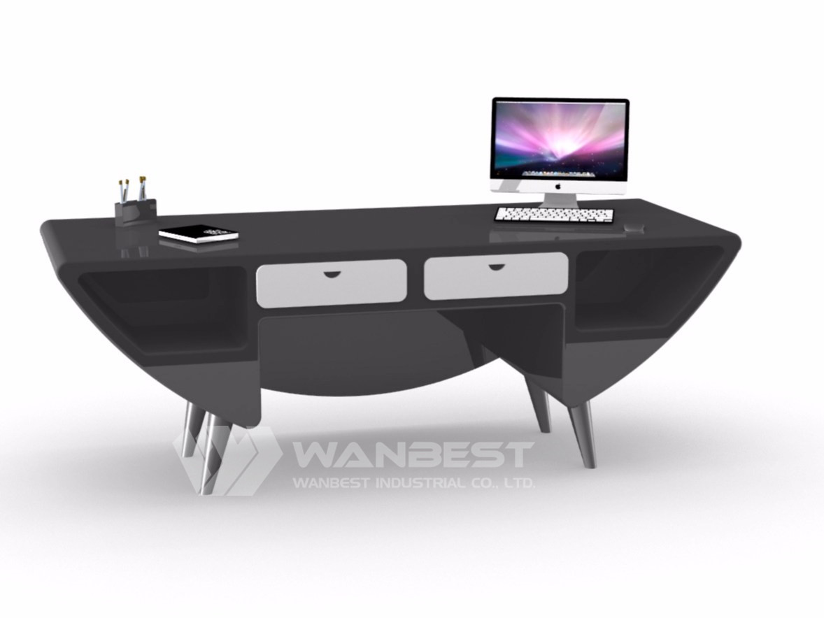 black solid surface desk