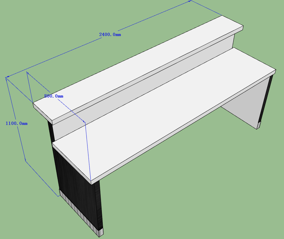 bar counter 3D drawing