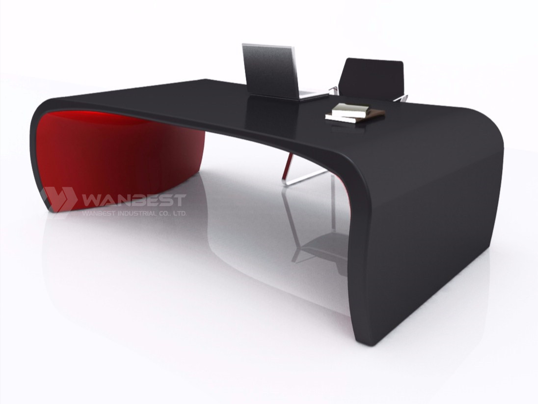 solid surface office executive desk-black