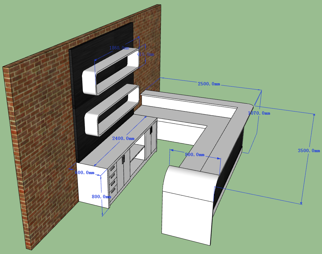 the side of bar counter 3D drawing