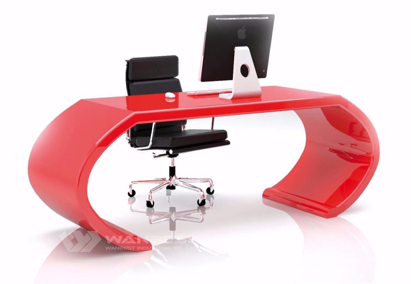 Curved Manager Desk Red