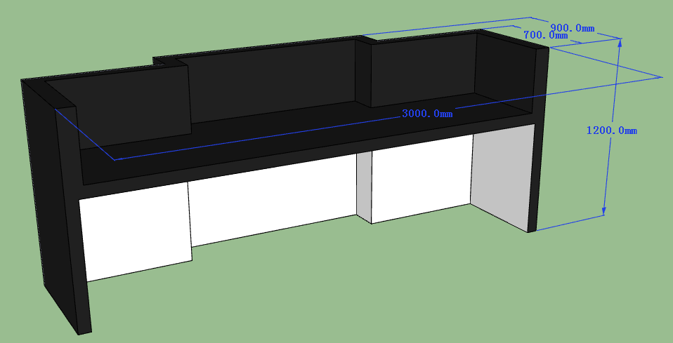 3D drawing of bar counter