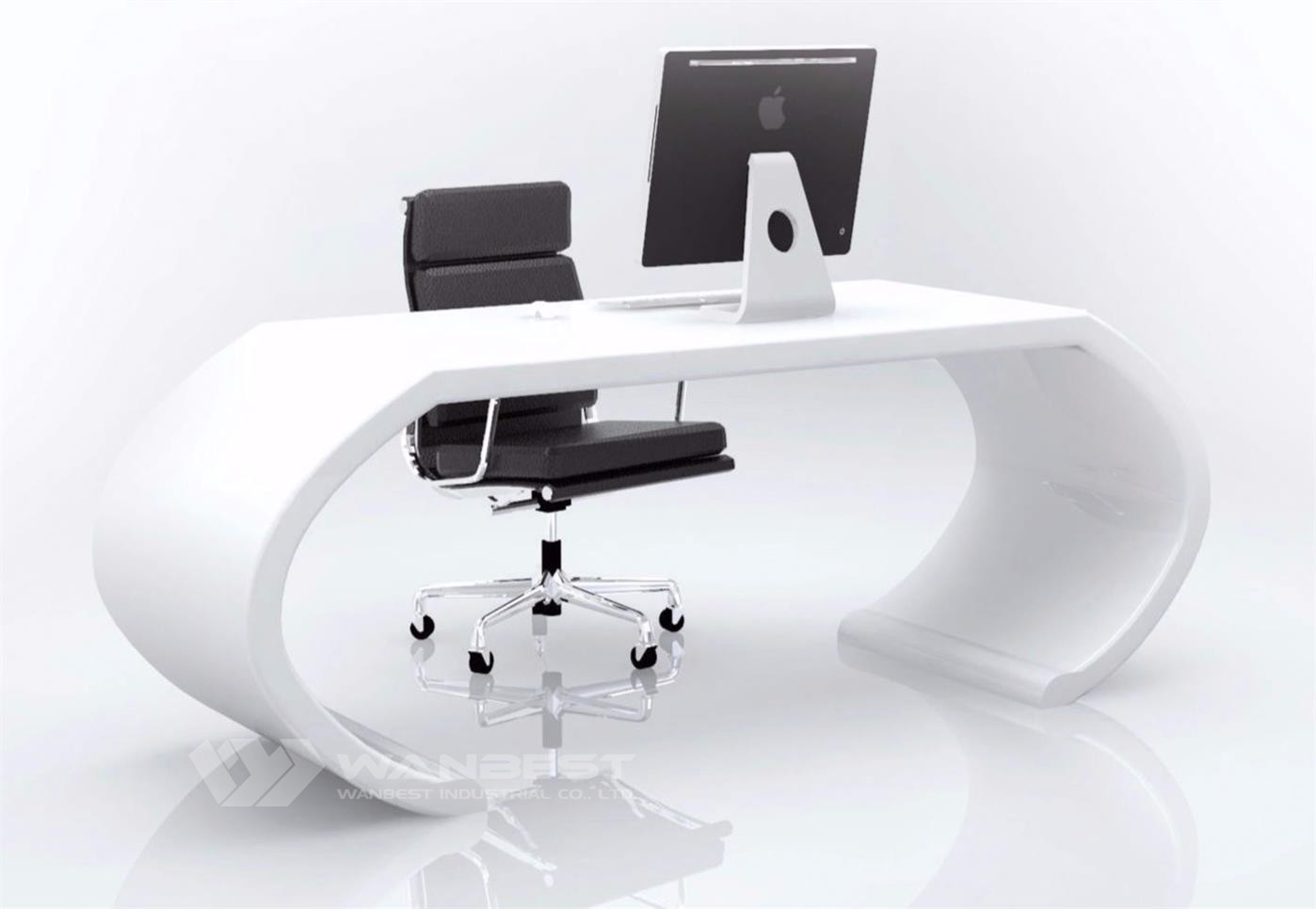 curved manager desk-white