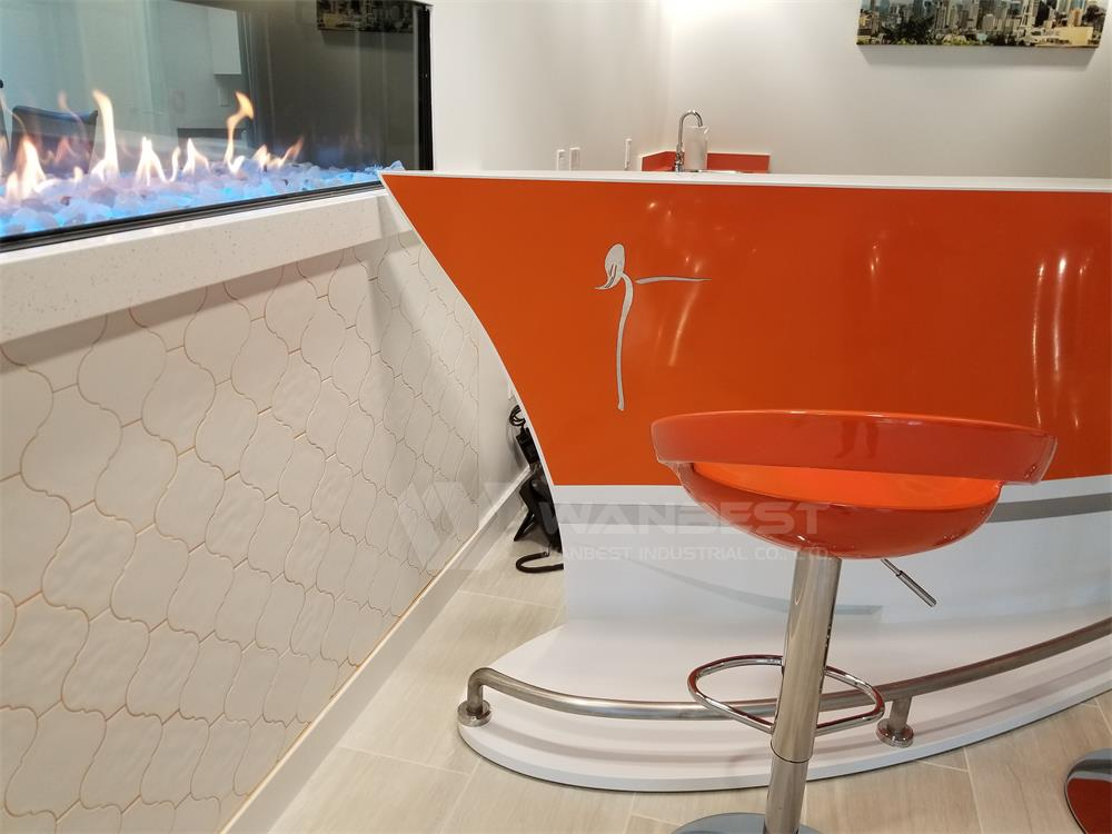 orange corian bar counter with stools