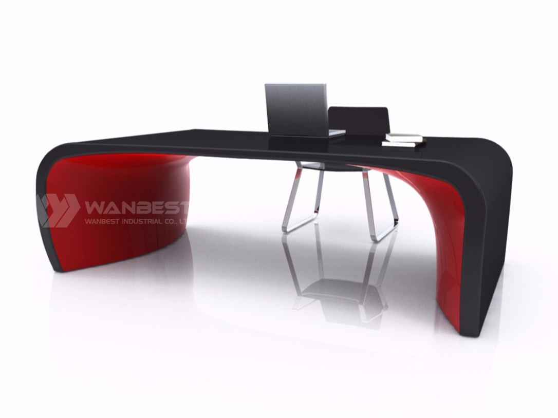solid surface office executive desk-side face