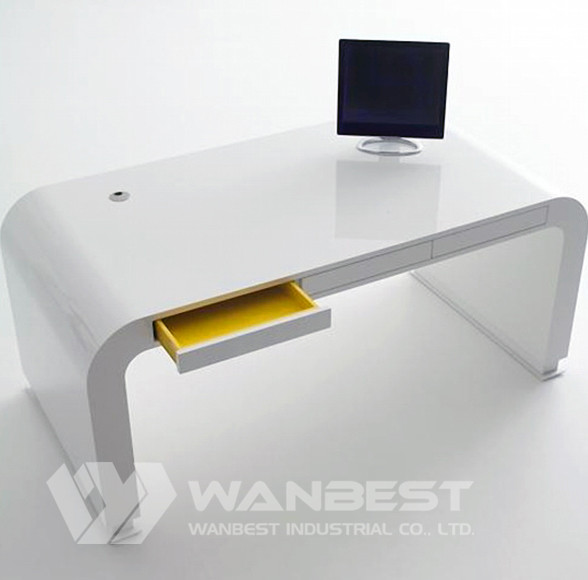 curved acrylic solid surface simple office desk