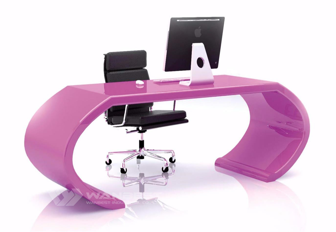 curved manager desk-pink