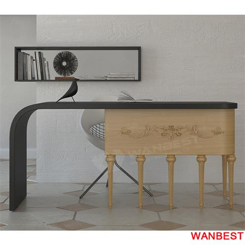 High quality solid surface black modern office desk