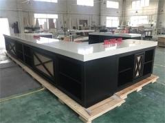 Buffet dinner counter high glossy polished modern design kitchen counter