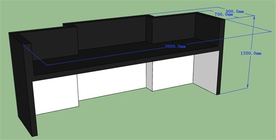 Straight Simple Black Corian Solid Surface Bar Counter