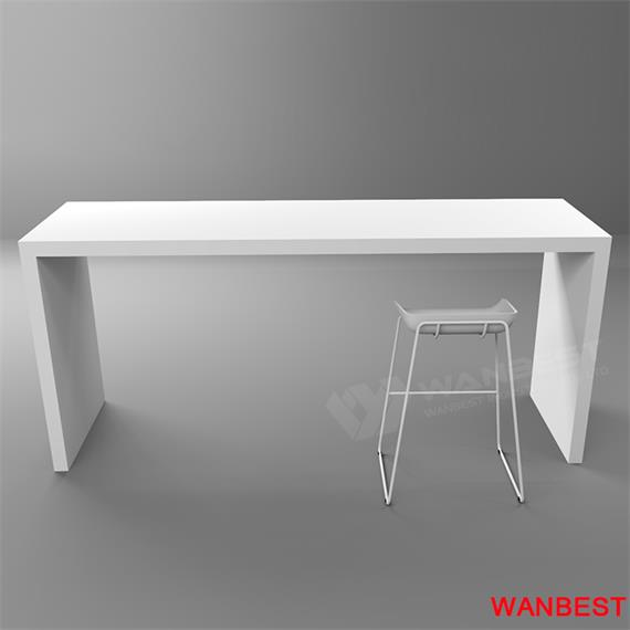 Customized White Artificial Stone U Shape Cafe Fast Food Home Dining Table