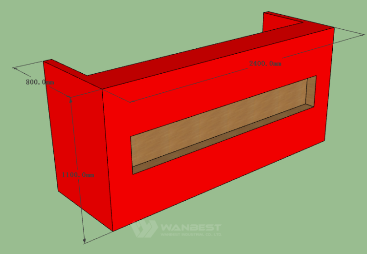 The side of front counter 3D drawing