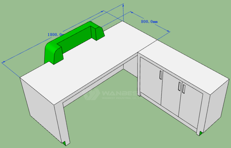 The behind of front desk 3D drawing
