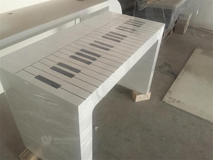 CEO office desk with piano picture