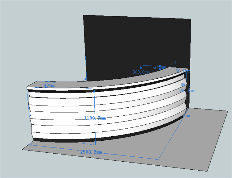 3d drawing of reception desk