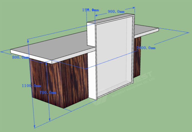 Reception desk front 3D drawing