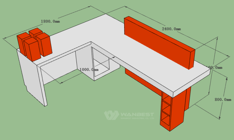 The front counter 3D drawing-behind
