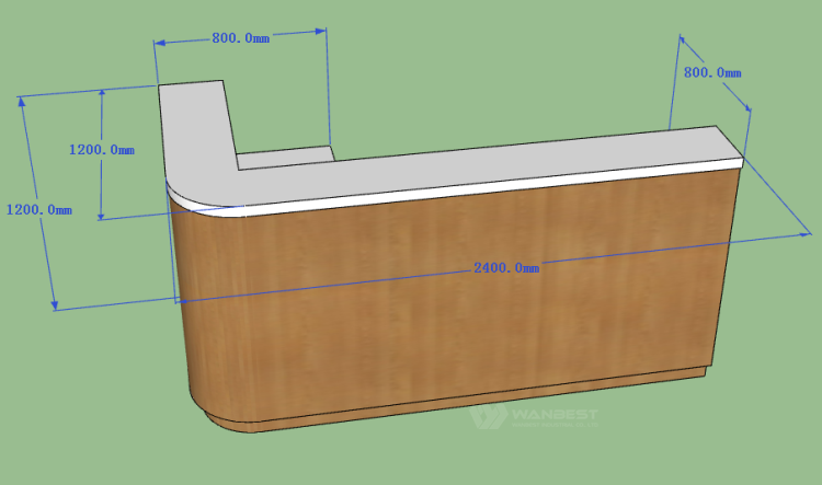 The side of 3d drawing  reception desk