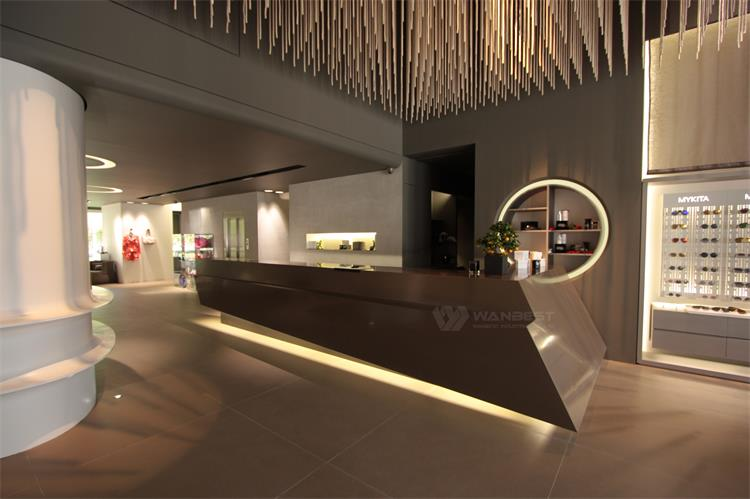 Brown reception desk