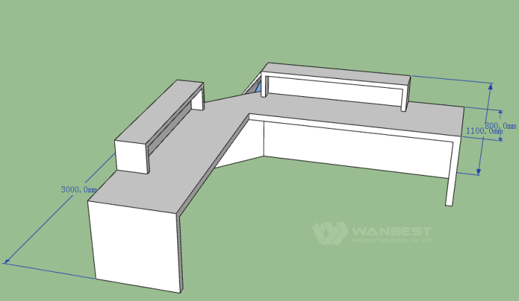 The 3D drawing-reception desk behind