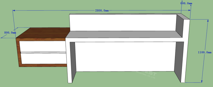 The behind of reception desk 3D drawing