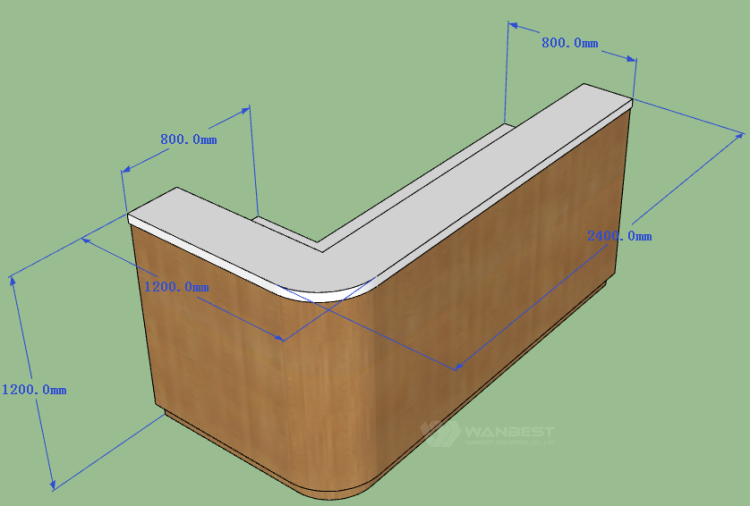 The side of reception desk 3D drawing