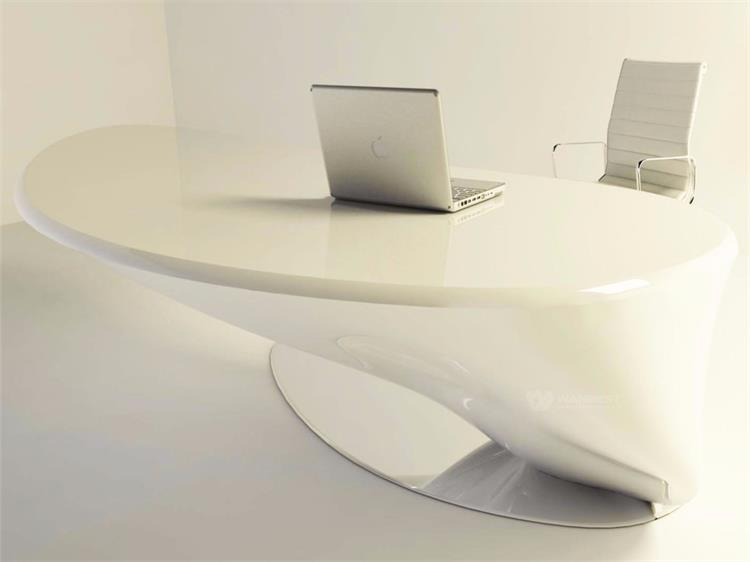 White atificial stone Office desk