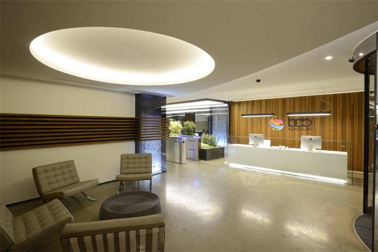 reception desk with LED