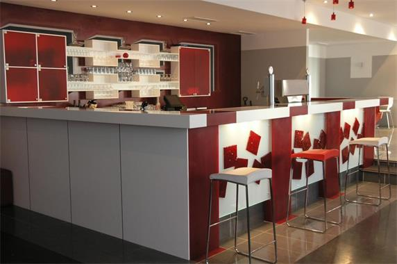 White Red  Color Design Bar Counter Fabrication Design