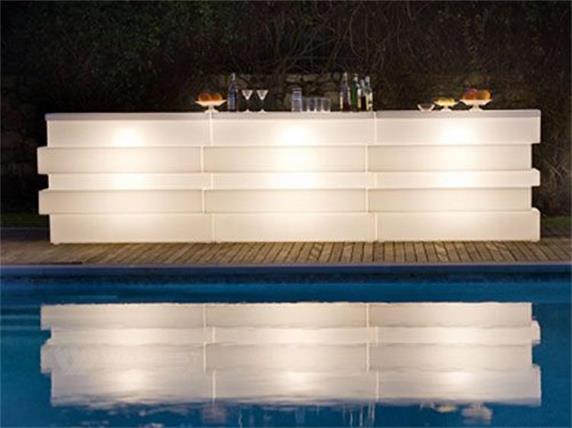 luxury design outdoor bar counter with layer and led lighting