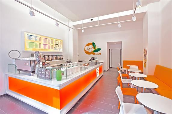 Orange Juice Bar Counter White Solid Surface Bench
