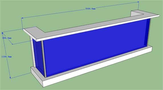 Blue Led Lighting Bar Counter Strong Glass To Protect